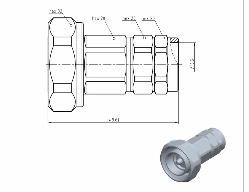 Đầu nối Connector 7/16 DIN cho cáp feeder 1/2