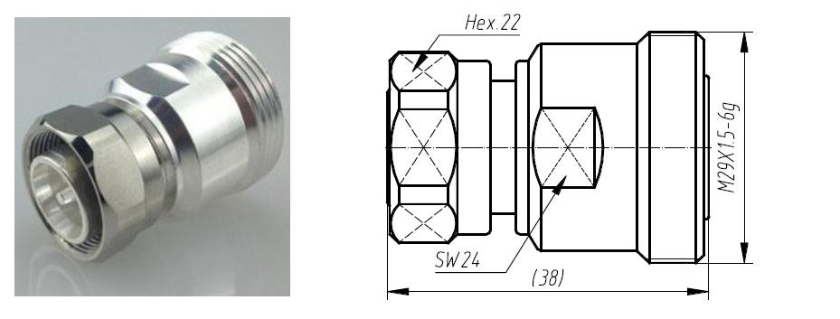 Đầu nối Adapter 4310 cái sang DIn 7/16 cái
